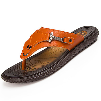 Pánské Obuv PU Léto Pohodlné Pantofle a Žabky Chůze pro Venkovní Černá Oranžová