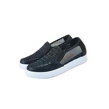 Damen Schuhe Tüll Mikrofaser Sommer Formaler Stil Komfort Loafers & Slip-Ons Walking Flacher Absatz Runde Zehe für Alltag Normal Schwarz
