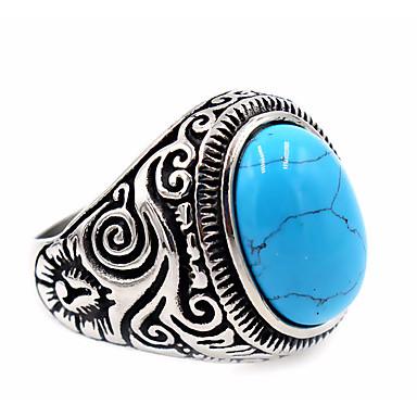 voordelige Herensieraden-Heren Ring Zegelring duimring Turkoois Topaas Zwart Blauwe LED Roestvast staal Titanium Staal Obsidiaan Rond Dames Uniek ontwerp Standaard Kiitos Dagelijks Sieraden Gegraveerd