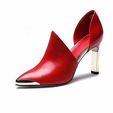 Naiset Kengät PU Kevät Syksy Korkokengät Käyttötarkoitus Musta Punainen