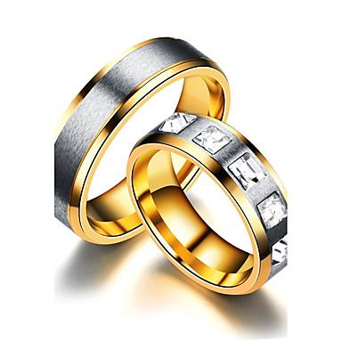 Mulheres Anéis de Casal Anel de noivado Anel Zircônia cúbica Dourado Rosa ouro Aço Titânio Redonda Circulo Casamento Festa Aniversário