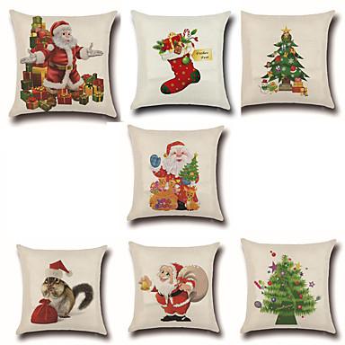 7 pcs Cotton / Linen Pillow Cover / Pillow Case, Novelty / Fashion / Christmas Retro / Traditional / Classic / Euro