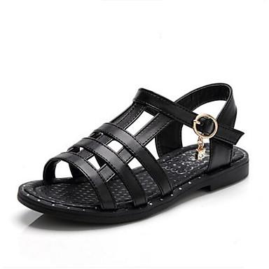 Tyttöjen kengät PU Kevät Syksy Ensikengät Sandaalit Tarranauhalla Käyttötarkoitus Kausaliteetti Valkoinen Musta