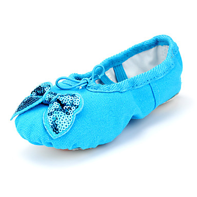 Ballet Shoes Canvas Flat Bow(s) Flat Heel Non Customizable Dance Shoes Green / Blue / Pink / Indoor