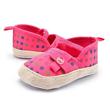 Kinder Baby Loafers & Slip-Ons Lauflern Stoff Sommer Herbst Normal Kleid Party & Festivität Lauflern Schleife Tupfen Flacher AbsatzRot