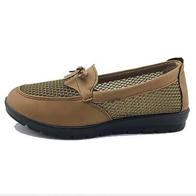 Mulheres Sapatos Tecido Tule Primavera Verão Conforto Mocassins e Slip-Ons Caminhada Sem Salto Ponta Redonda Laço para Casual Ao ar livre