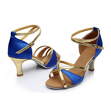 Mulheres Latina Seda Sandália Interior Salto Personalizado Azul Personalizável