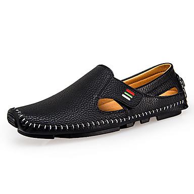 Homens sapatos Microfibra Couro Verão Outono Conforto Mocassins e Slip-Ons Caminhada para Casual Branco Preto Azul