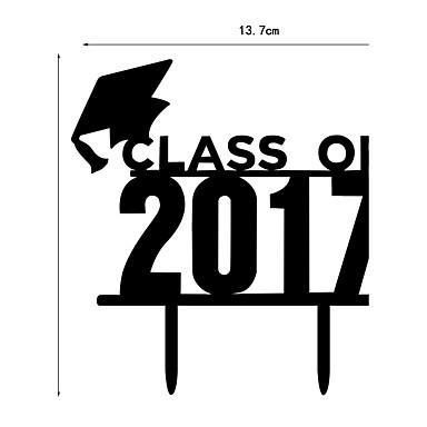 Cake Topper School/Graduation Hearts Plastic Graduation with 1pcs PVC Bag