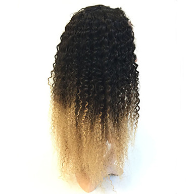 Human Hair Lace Front Wig Brazilian Hair Kinky Curly Ombre Wig 130% Density with Baby Hair Ombre Hair 100% Hand Tied Ombre Women's Human Hair Lace Wig