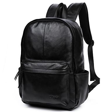 Homens Bolsas Pele mochila Suave Sólido Preto