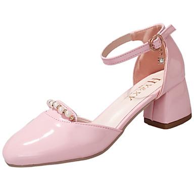 Naiset Sandaalit Comfort Kesä Kiiltonahka Kävely Kausaliteetti Puku Helmillä Soljilla Matala korko Musta Beesi Vaalea vaaleanpunainen