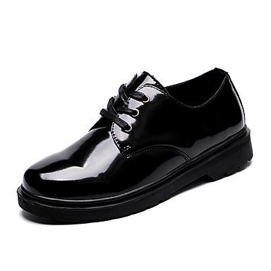 Miehet Oxford-kengät Comfort muodollinen Kengät PU Kevät Syksy Juhlat Comfort muodollinen Kengät Solmittavat Tasapohja Musta Tasapohja