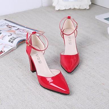Damen Sandalen Komfort PU Frühling Lässig Schwarz Grau Rot 10 - 12 cm