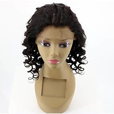 Damen Echthaar Perücken mit Spitze Echthaar Spitzenfront Ohne Klebstoff und  Spitze in der Front 180% Dichte Leicht gelockt Perücke