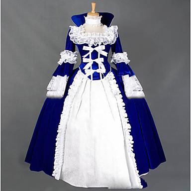 قوطي / فيكتوريا / العصور الوسطى كوستيوم للمرأة فساتين / أزياء الحفلة / حفلة تنكرية عتيقة تأثيري دانتيل كم طويل كاب طول الأرض كوستيوم هالوين