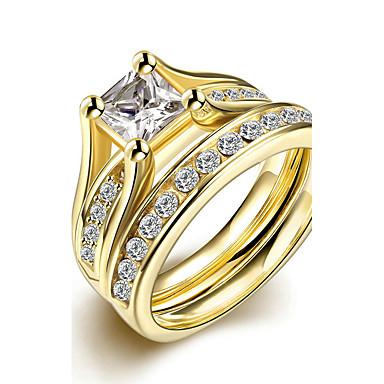 Χαμηλού Κόστους Μοδάτο Δαχτυλίδι-Γυναικεία Πασιέντζα Emerald Cut Band Ring Δαχτυλίδι Δαχτυλίδι αρραβώνων Τιτάνιο Ατσάλι κυρίες Unusual Μοναδικό μινιμαλιστικό στυλ Μοντέρνα Νυφικό Μοδάτο Δαχτυλίδι Κοσμήματα Χρυσό Για