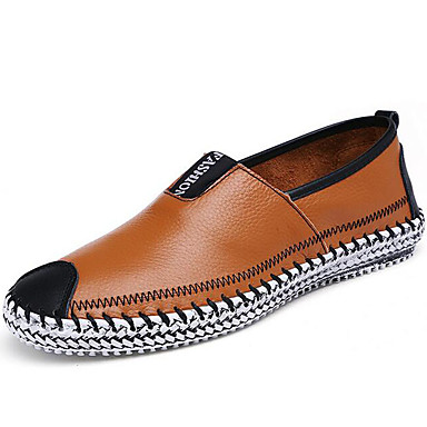 Men's Comfort Loafers Leather Fall / Winter Loafers & Slip-Ons Black / Light Brown / Party & Evening