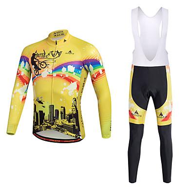Miloto Homens Camisa com Calça Bretelle - Amarelo Moto Conjuntos de Roupas Poliéster Lycra