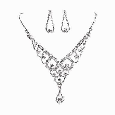 Damen Strass Schmuck-Set 1 Halskette 1 Paar Ohrringe - Klassisch Oval Silber Braut-Schmuck-Sets Für Hochzeit Party Besondere Anlässe