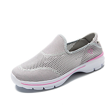 Mulheres Sapatos Tule Primavera Outono Tênis Caminhada Sem Salto Ponta Redonda Vazados para Cinzento Roxo Fúcsia Azul Marinho Vermelho