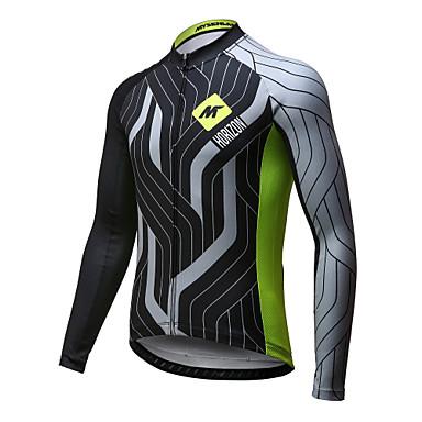 Mysenlan Homens Manga Longa Camisa para Ciclismo - Verde / preto Moto Camisa / Roupas Para Esporte, Secagem Rápida, Respirável Poliéster
