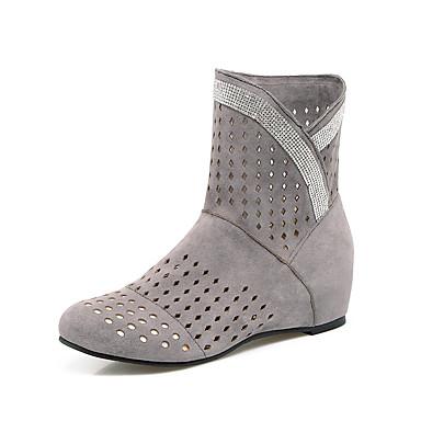 Mulheres Sapatos Courino Outono Inverno Conforto Botas Caminhada Salto Plataforma Ponta Redonda Botas Curtas / Ankle Presilha para Casual