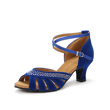 Mulheres Sapatos de Dança Latina Salto Pedrarias Salto Personalizado Personalizável Sapatos de Dança Preto / Vermelho / Azul / Interior