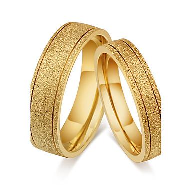 Casal Anéis de Casal Anel Anel de banda Clássico Vintage Estilo simples Aço Titânio Redonda Jóias de fantasia Casamento Festa Noivado