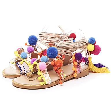 Naiset Sandaalit Comfort Nappanahka Nahka Kevät Kausaliteetti Comfort Ruudun väri Tasapohja
