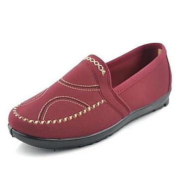 Damen Schuhe Stoff Frühling Komfort Loafers & Slip-Ons Flacher Absatz Runde Zehe für Kaffee Rot