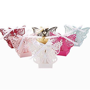 Round Square Others Pearl Paper Favor Holder with Ribbons Printing Favor Boxes - 50