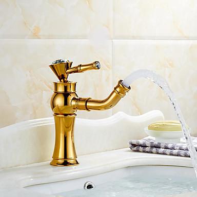 Modern Mittellage Keramisches Ventil Einhand Ein Loch Rotgold, Waschbecken Wasserhahn
