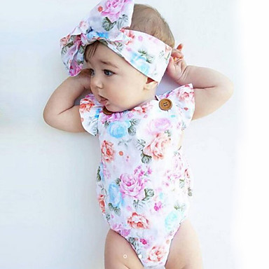 cheap Baby Girls' One-Piece-Baby Girls' Floral Fashion / Vintage Print Sleeveless Cotton Bodysuit White / Toddler