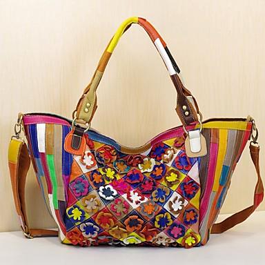 Women's Bags Cowhide Tote Flower Rainbow
