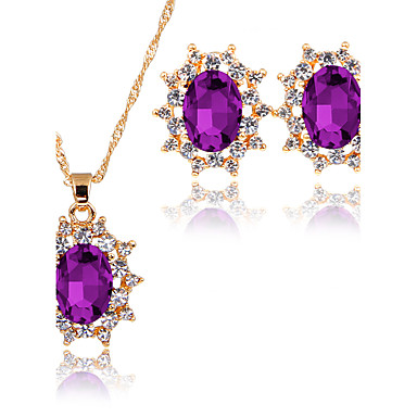 Women's AAA Cubic Zirconia Jewelry Set - Classic, Fashion, Euramerican Include Pendant Necklace / Bridal Jewelry Sets Dark Blue / Purple / Green For Christmas / Christmas Gifts / Wedding / Party