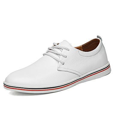 Homens sapatos Pele Primavera Verão Outono Matte Casual Conforto Oxfords Caminhada Combinação para Casual Branco Preto Amarelo Marron Azul