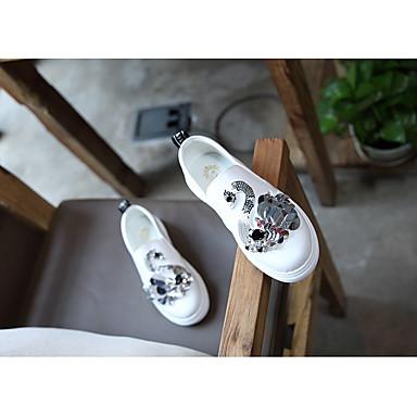 Mädchen Schuhe Kunstleder Frühling Herbst Lauflern Flache Schuhe Walking Klettverschluss Für Normal Weiß Schwarz