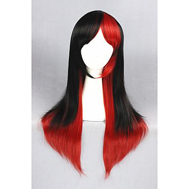 الاصطناعية الباروكات مستقيم شعر مستعار صناعي أسود شعر مستعار للمرأة متوسط دون غطاء