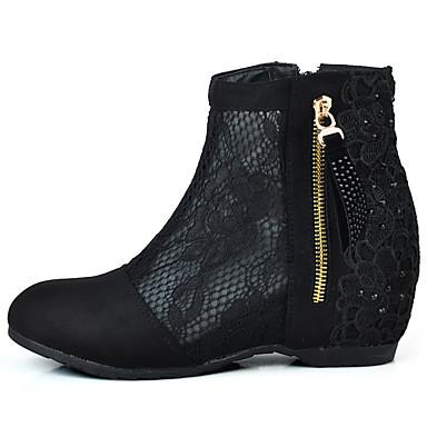 Mulheres Sapatos Tecido Tule Primavera Verão Conforto Botas Sem Salto Ponta Redonda Botas Curtas / Ankle Cristais Apliques Ziper para