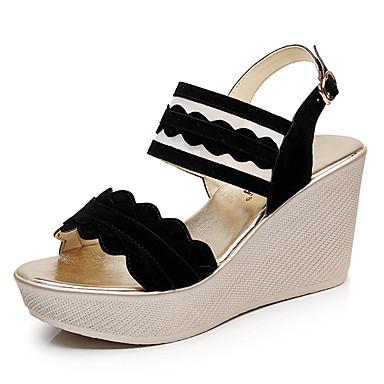 Mulheres Sapatos Sintético Verão Conforto Sandálias Salto Plataforma Peep Toe para Escritório e Carreira Preto Amarelo Verde Tropa
