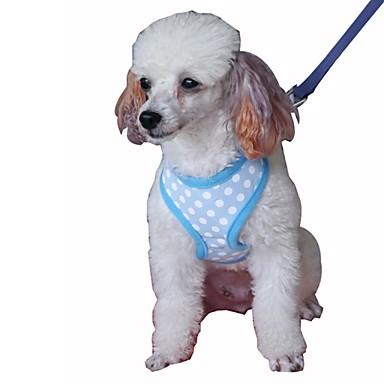 Gato Cachorro Arreios Trelas Portátil Respirável Dobrável Segurança Ajustável Poá Formais Malha Algodão Preto Verde Azul Rosa claro