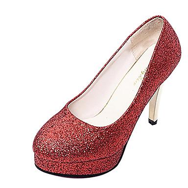 Mulheres Sapatos Courino Verão Outono Saltos Salto Agulha Ponta Redonda Gliter com Brilho para Preto Prateado Vermelho Rosa claro