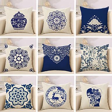 1 pcs Cotton / Linen Pillow Cover / Pillow Case, Floral / Novelty / Classic Pattern / Classic / Retro