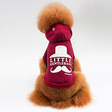 Gato Cachorro Casacos Camiseta Camisola com Capuz Roupas para Cães Carta e Número Cinzento Vermelho Lã Polar Algodão Ocasiões Especiais