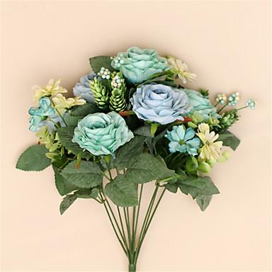 1 Ast Seide Rosen Tisch-Blumen Künstliche Blumen
