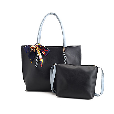 Mulheres Bolsas Couro Ecológico Conjuntos de saco 2 Pcs Purse Set Ziper para Casual Todas as Estações Preto Rosa Bege