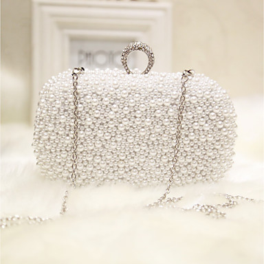 Women's Bags Silk Evening Bag Pearls White / Apricot