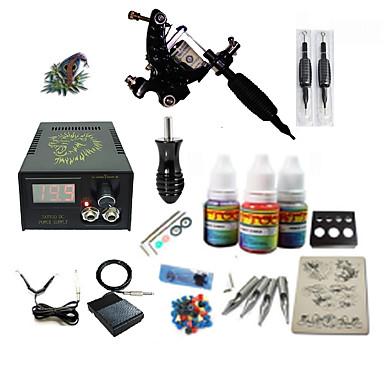 Tattoo Machine Starter Kit - 1 pcs Tattoo Machines with 1 x 5 ml tattoo inks LCD power supply Case Not Included 1 damascus steel machine liner & shader