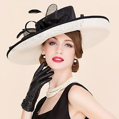 voordelige Hoeden-Vlas Kentucky Derby Hat / hatut met Bloem 1pc Bruiloft / Speciale gelegenheden  / Causaal Helm